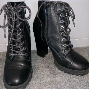 ALDO heeled combat boots with glitter shoelace